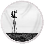 Round Beach Towel featuring the photograph Lone Windmill by Cathy Anderson