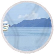 Round Beach Towel featuring the photograph Lonely Boat by Andrea Anderegg
