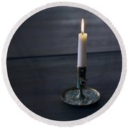 Lonely Candle Round Beach Towel