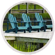 Lonely Chairs  Round Beach Towel