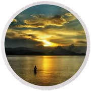 Lonely Fisherman Round Beach Towel