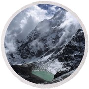 Lonely Lake On The Inca Trail Round Beach Towel