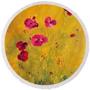Lonely Poppies Round Beach Towel