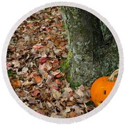 Lonely Pumpkin Round Beach Towel