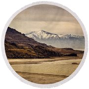 Round Beach Towel featuring the photograph Lonesome Land by Priscilla Burgers