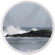 Long Beach Jetty Round Beach Towel