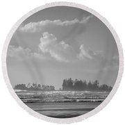 Long Beach Landscape  Round Beach Towel