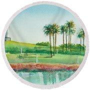 Long Beach Lighthouse Round Beach Towel