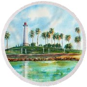 Long Beach Lighthouse  Version 2 Round Beach Towel