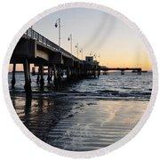 Round Beach Towel featuring the photograph Long Beach Pier by Kyle Hanson