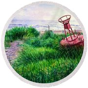 Long Beached Buoy Round Beach Towel