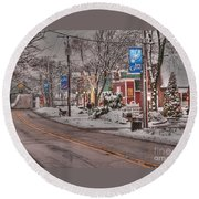 Long Grove In Snow Round Beach Towel