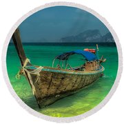 Round Beach Towel featuring the photograph Longboat by Adrian Evans