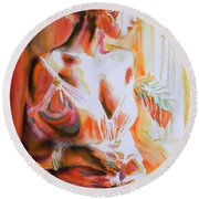 Longing For You Round Beach Towel