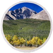 Longs Peak A Colorado Playground Round Beach Towel