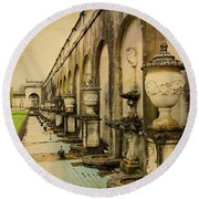 Longwood Gardens Fountains Round Beach Towel
