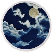 Look At The Moon Round Beach Towel