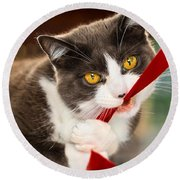Look Into My Eyes Round Beach Towel