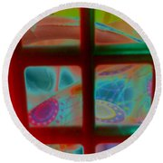 Look Through Any Window Round Beach Towel