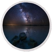 Looking At The Stars Round Beach Towel