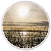 Looking At Wales Through The Grass Round Beach Towel