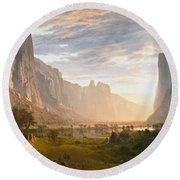 Round Beach Towel featuring the painting Looking Down Yosemite Valley California by Albert Bierstadt