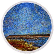 Looking East - St Andrews Wharf 2013 Round Beach Towel