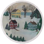 Round Beach Towel featuring the painting Looking For A Tree by Virginia Coyle