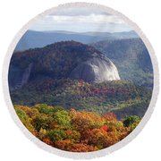 Looking Glass Rock And Fall Folage Round Beach Towel
