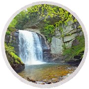 Looking Glass Waterfall In The Spring 2 Round Beach Towel