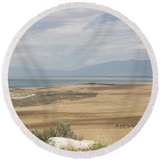 Looking North From Antelope Island Round Beach Towel by Belinda Greb