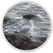 Round Beach Towel featuring the photograph Looking Out To Sea by Eunice Miller