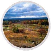 Looking Over The Gettysburg Battlefield Round Beach Towel