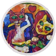 Round Beach Towel featuring the painting Looking Swell Cats by Dianne  Connolly