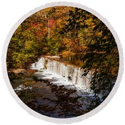 Looking Through Autumn Trees On To Waterfalls Fine Art Prints As Gift For The Holidays  Round Beach Towel