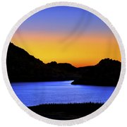 Looking Through The Quartz Mountains At Sunrise - Lake Altus - Oklahoma Round Beach Towel