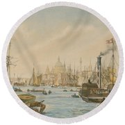 Looking Towards London Bridge Round Beach Towel by William Parrot