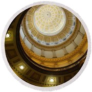 Looking Up The Capitol Dome - Denver Round Beach Towel by Dany Lison