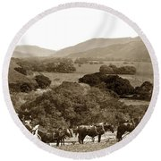 Looking Up The Carmel Valley California Circa 1880 Round Beach Towel by California Views Mr Pat Hathaway Archives