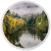 Looking Up The Eel River Round Beach Towel