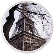 Looking Up To Eiffel  Round Beach Towel