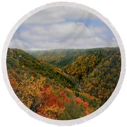 Looking Upriver At Blackwater River Gorge In Fall From Pendleton Point Round Beach Towel