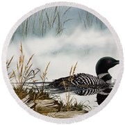 Loons Misty Shore Round Beach Towel