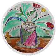Round Beach Towel featuring the painting Loose Flowers In A Vase by Mary Carol Williams