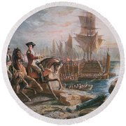 Lord Howe Organizes The British Evacuation Of Boston In March 1776 Round Beach Towel