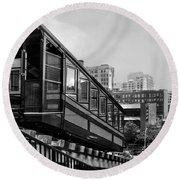 Los Angeles Angels Flight.bw Round Beach Towel by Jennie Breeze