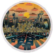 Los Angeles Skyline Abstract 2 Round Beach Towel