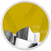 Los Angeles Skyline Disney Theater - Gold Round Beach Towel