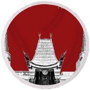 Los Angeles Skyline Graumans Chinese Theater - Dark Red Round Beach Towel