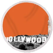 Los Angeles Skyline Hollywood - Coral Round Beach Towel